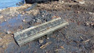 Nabrzeże Flisaków - fragment wydobytej konstrukcji starej pochylni