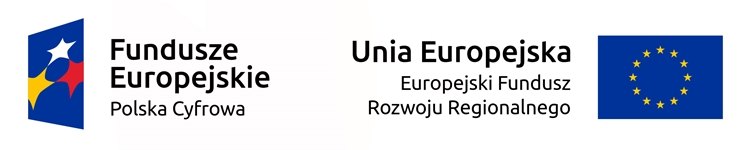 pasek z logotypami Programu Operacyjnego Polska Cyfrowa oraz Europejskiego Funduszu Rozwoju Regionalnego