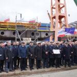 Uroczystość położenia stępki statku wielozadaniowego B 618/1 5