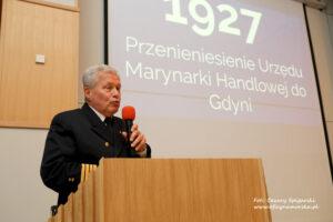 kpt. ż.w. Wiesław Piotrzkowski, Dyrektor Urzędu Morskiego w Gdyni w trakcie wystąpienia