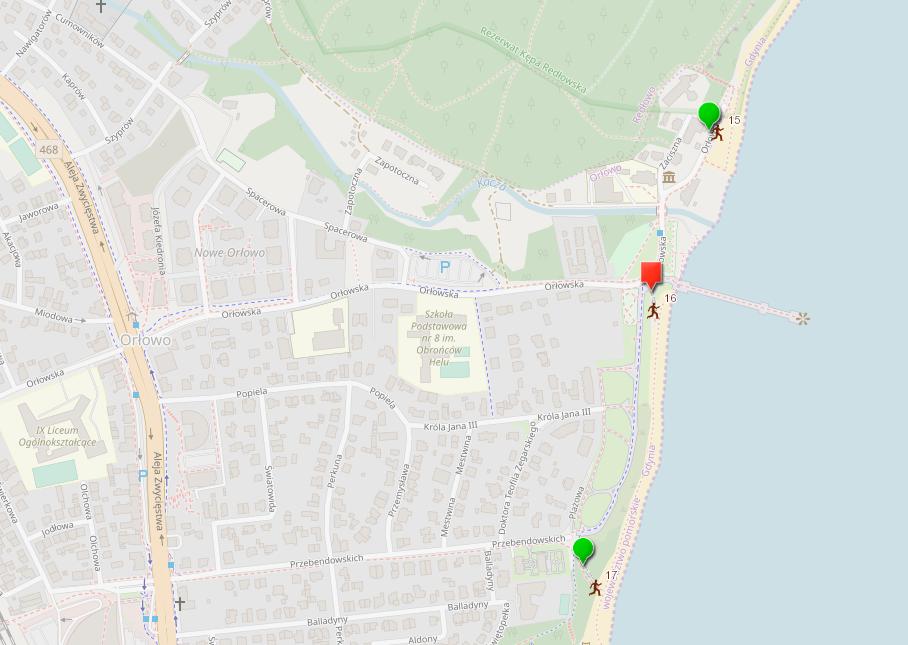 Mapa z oznaczonym przejściem na plażę nr 16 wyłączonym z użytkowania