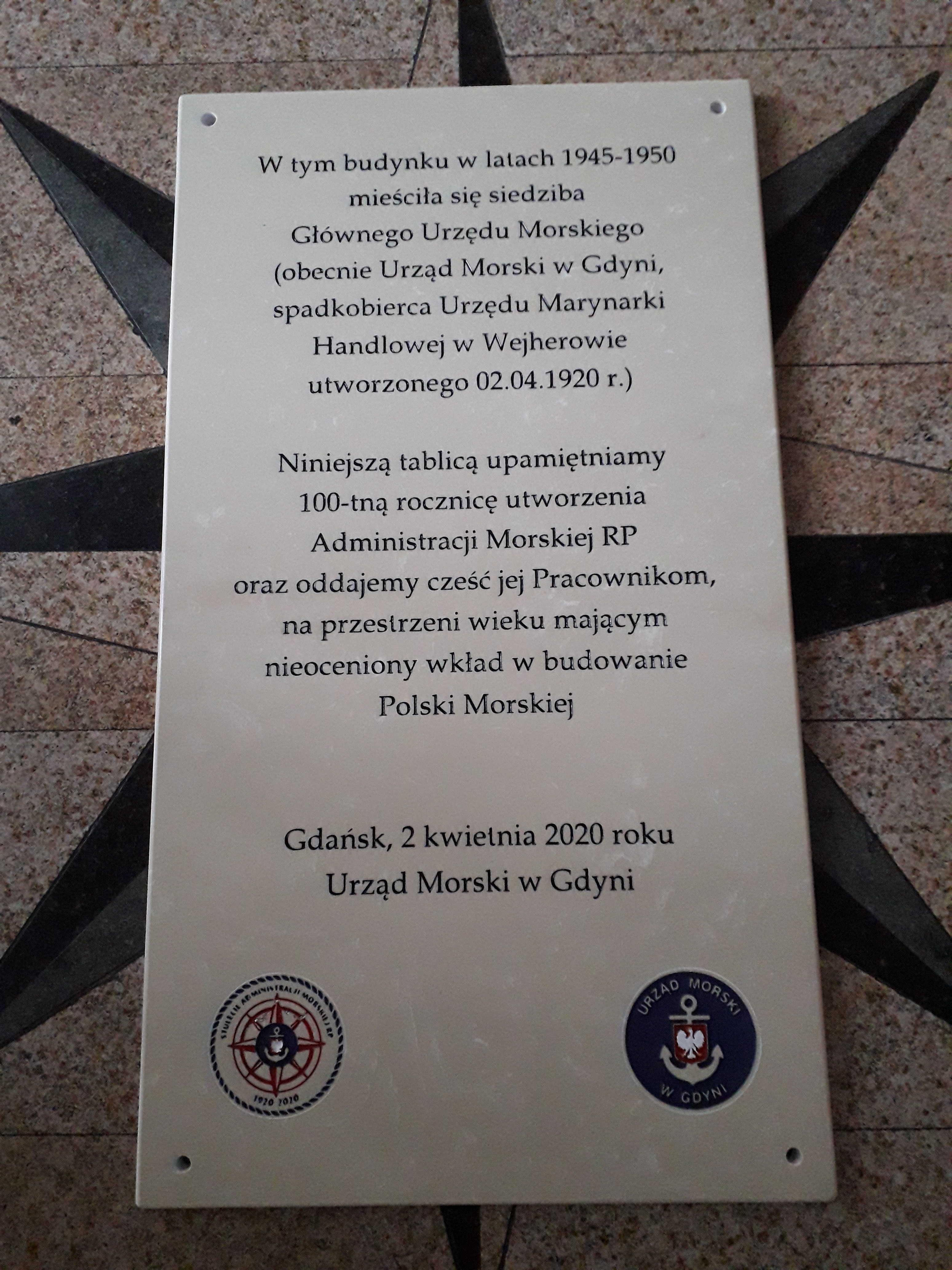 Tablica pamiątkowa przygotowana do zamontowania na budynku przy ul. Grunwaldzkiej 204 w Gdańsku (fot. Urząd Morski w Gdyni)