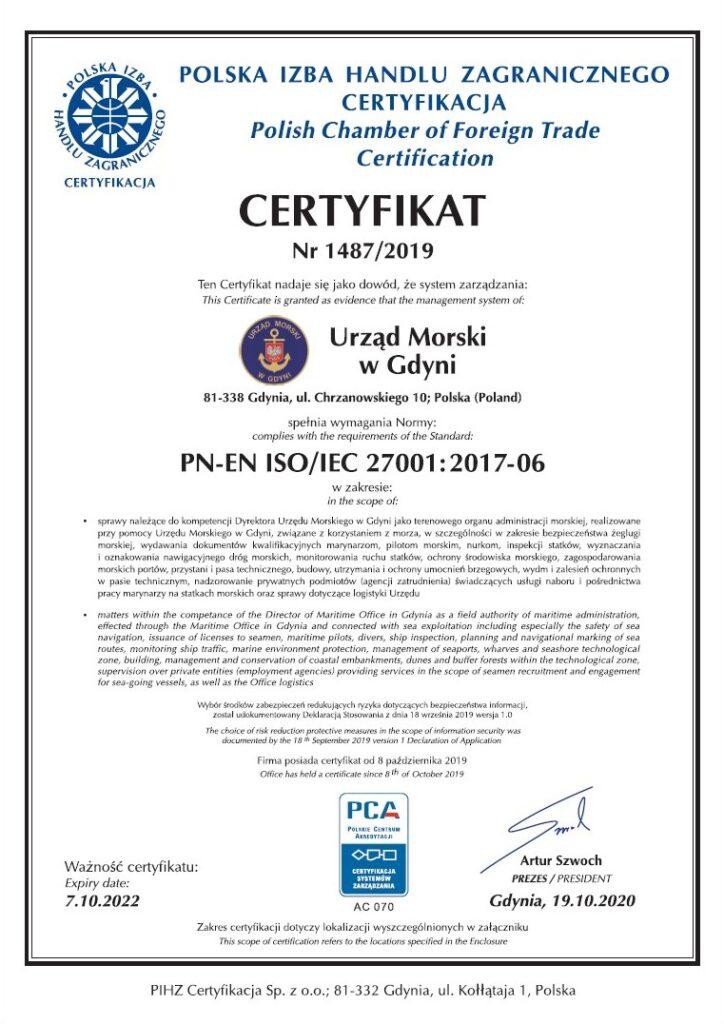 Certyfikat ISO 27001:2017 strona 1