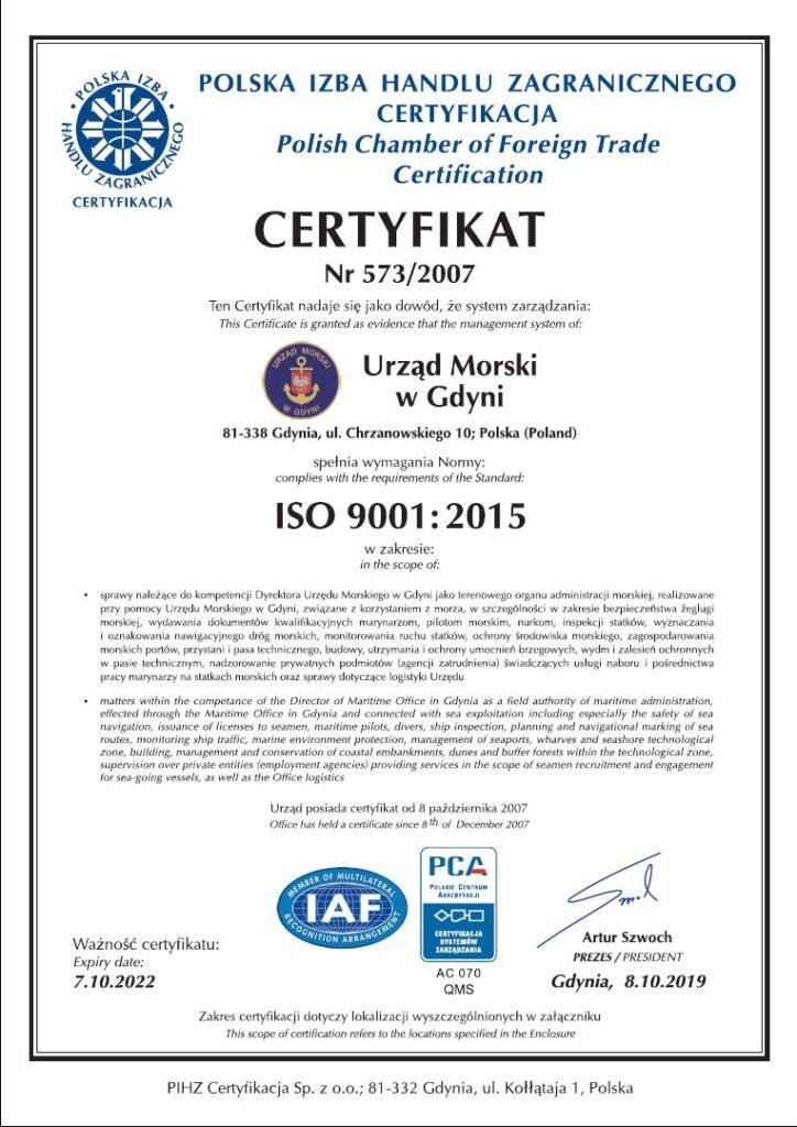 Certyfikat ISO 9001:2015 strona 1