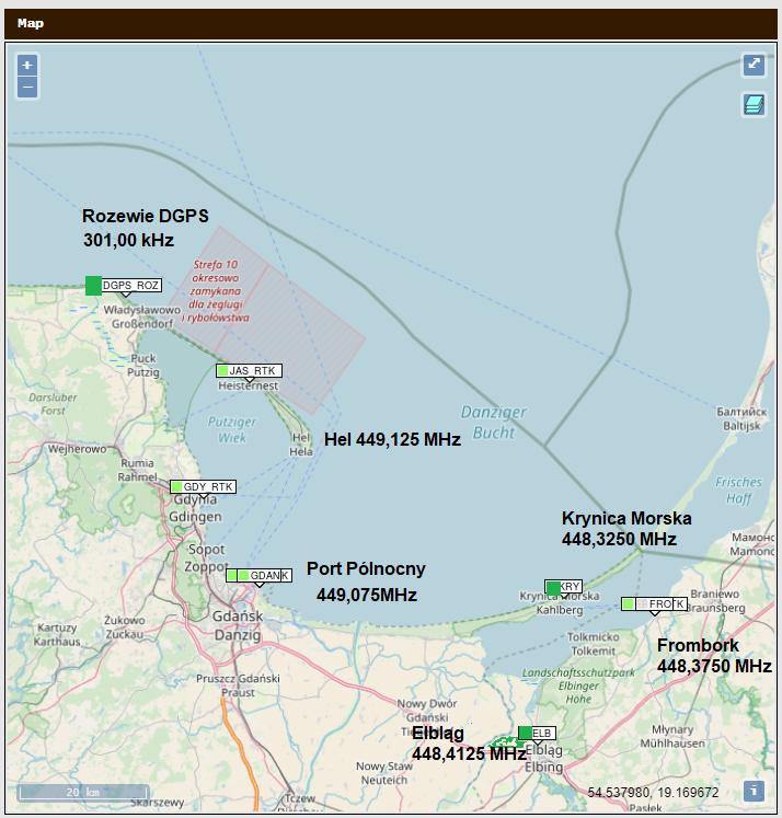 Rysunek 4 Wizualizacja na mapie obiektów systemu RTK Zalew i systemów zintegrowanych nowym oprogramowaniem (DGPS-PL, RTK Zatoka)