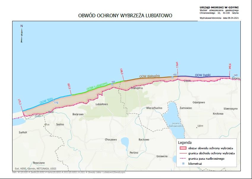 Mapka Obwodu Ochrony Wybrzeża Lubiatowo